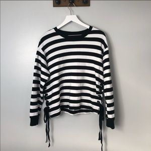 A New Day Black and White Striped Crewneck Sweater
